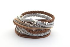 Brown Gray Silver Boho Wrap Bracelet Caramel Gray Gypsy