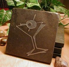MARTINI SLATE COASTER SET Glass Olive Mixed Drink New Year Eve - More