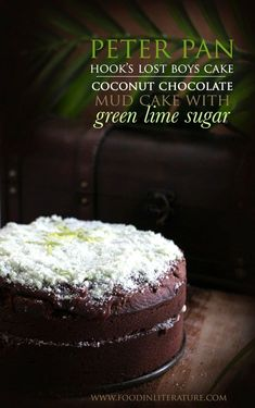 Inspired by the cake Hook makes the Lost Boys in Peter Pan, this coconut chocolate mud cake with green lime sugar will make the perfect 'authentic' Peter Pan cake for a birthday or to celebrate the latest Peter Pan movie.