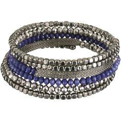 Blue Bead Coil Bracelet ($12) ❤ liked on Polyvore