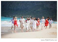 www.rightframe.net - Beautiful Destination Waimanalo Beach Wedding in Oahu. photography, photographer, weddings, photos, bride , groom, hawaiian, romantic, ideas, Bellows, Lanikai, couple, bouquets, lei, wedding party, bridesmaids, groomsman.