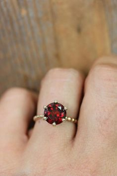 Crimson Red Garnet RIng and Recycled Gold Ring, Six Prong Solitaire Ring in 14k Yellow Gold, Art Deco