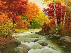 Buy Diy Diamond Painting Cross Stitch Diamond Embroidery Landscape Autumn Forest Pattern Hobbies And Crafts Diamond Mosaic Kits Forest Wallpaper, Fall Wallpaper, Painting Wallpaper, Landscape Wallpaper, Landscape Paintings, Stone Wallpaper, Image Nature, Forest Painting, Diy Painting