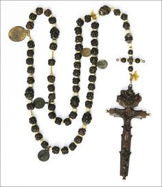 18th century rosary from Alpine region of Germany.  Wood, bone and silver.