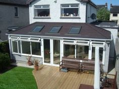 Lean to - Sun roof style solid tiled conservatory roof with rooflights Tiled Conservatory Roof, Conservatory Extension, Conservatory Ideas, Porches, Warm Roof, Single Storey Extension, Modern Roofing, Hip Roof, Roof Architecture