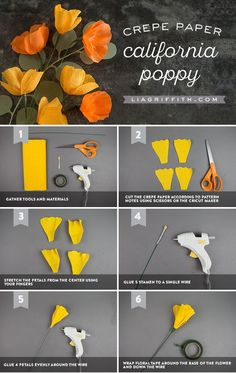 California Crepe Paper Poppy Tutorial