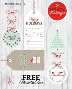 Modern style printable holidays tags