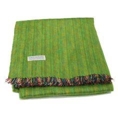 100% Alpaca Travel Blanket in Green Apple