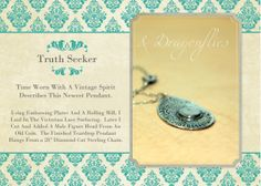 Old World - Time Worn - Both Come To Mind When Describing This Newest Teardrop Pendant From Dimples and Dragonflies.  https://www.etsy.com/listing/188219505/sterling-silver-teardrop-pendant-truth?ref=shop_home_active_1
