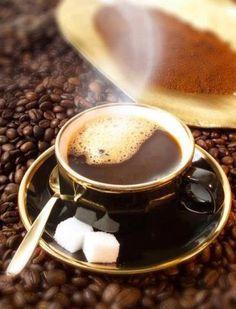 Hot coffee and sugar.