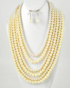 Chunky Cream Layered Beaded Faux Pearl 6 Strand Fashion Necklace Earrings Set #Jewelry #Deal #Fashion