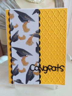 Graduation Card by Carolinakathy - Cards and Paper Crafts at Splitcoaststampers Graduation Cards Handmade, Graduation Diy, Handmade Birthday Cards, Greeting Cards Handmade, Congratulations Card Graduation, Graduation Greetings, Masculine Birthday Cards, Masculine Cards, Graduation Scrapbook