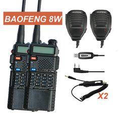 Par de walkie talkie baofeng uv-8hx, vhf uhf de radio, 50 km baofeng uv-5r 8 w gt-3tp hermana gt-3 uv 5r vx-6r + cable + sp + cargador de coche