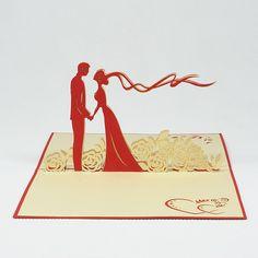 Pop-up handmade card for wedding-anniversary/WD007-Wedding Day 7/3D handmade Vietnam card for wedding invitation/Hot sales/Pop up card Manufacturer Vietnam