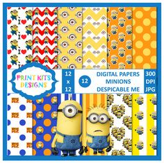 Minions digital paper download by Printkits Designs via Etsy