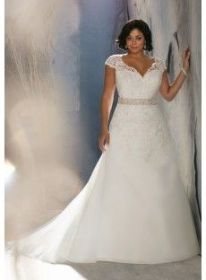 V Neck Chapel Train Satin A Line Plus Size Wedding Dress Wmr0097