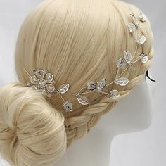 Luxurious Alloy Hand-made Flowers with Rhinestone Wedding Bridal Headpieces – AUD $ 11.06