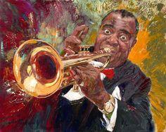 Nenad Mirkovich 1951 ~ Serbian Painter ~ Louis Armstrong