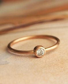 Rose Gold Diamond Ring by kateszabone on Etsy, $595.00