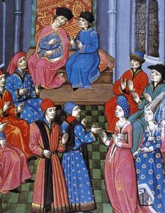 Medieval miniature. Meeting of the Roman Senate. Discussion on marriage between…