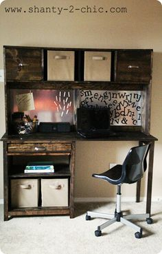 DIY Desk. I think we can change it up to make it a desk/entertainment center for the living room!!