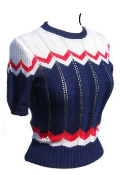 40s style zsip zag jumper, in red, white and blue. cute design but idk where i would where it