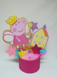 4 Peppa Pig pink centerpieces, Peppa pig party decoration, Peppa birthday centerpiece, peppa pig centerpieces. Peppa fairy birthday.