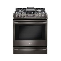 LG LSG4513 30 Inch Wide 6.3 Cu. Ft. Slide-In Gas Range with ProBake ($2,361) ❤ liked on Polyvore featuring home, home improvement, household appliances, black stainless steel, gas, ranges and slide in