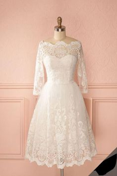 Lace Wedding Dresses Elegant Bridal Gowns New White Knee Length summer fall Vint. Lace Wedding Dresses Elegant Bridal Gowns New White Knee Length summer fall Vintage Wedding Dress sold by rhythmic. Short Lace Wedding Dress, Elegant Wedding Dress, Elegant Dresses, Vintage Dresses, Lace Dress, Trendy Wedding, Wedding Summer, Modest Wedding, Wedding White