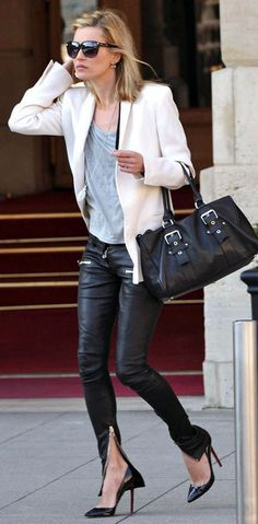 kate moss black leather pants gray tee cream blazer heels