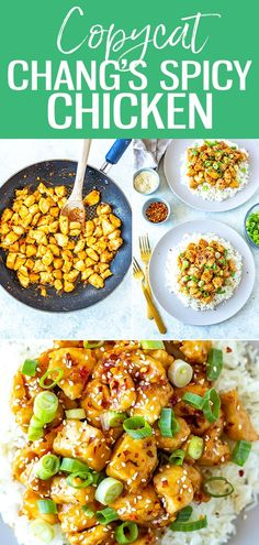 This Copycat Chang's Spicy Chicken recipe is the perfect sweet and spicy stir fry served over rice and garnished with sesame seeds and scallions! #changsspicychicken Spicy Chicken Recipes, Winner Winner Chicken Dinner, Sweet And Spicy, Vegan Recipes, Delicious Recipes, Kung Pao Chicken, Copycat, Stir Fry
