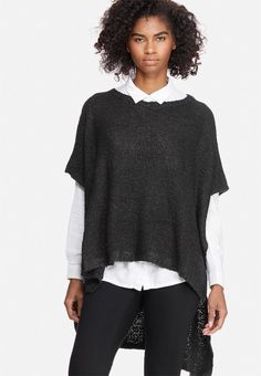 Offering the classic appeal of a poncho design with the luxurious character of a knit, this piece proves essential to sophisticated winter styling. It has a comfortable crew neck with splits at both sides, and will complement frayed skinny jeans and boots for chic style. Poncho Design, Jeans And Boots, High Low, Knitwear, Winter Fashion, Crew Neck, Bell Sleeve Top, Skinny Jeans, Chic