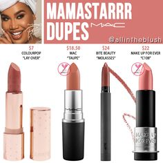 "I have another MAC Cosmetics Lipstick dupe to share with you! The next shade up on the dupe list is ""Mamastarrr"", a warm brown hue. Mac Makeup Looks, Best Mac Makeup, Cute Makeup, Makeup Stuff, Drugstore Makeup, Mac Cosmetics Lipstick, Lipstick Swatches, Lipstick Colors, Lipstick Mac"