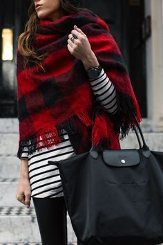 buffalo check + stripes | love her look for winter and cool weather - the mixing patterns is working!