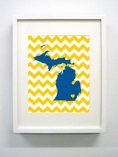 University of Michigan Giclée Print - 8x10 - Go Wolverines. $14.00, via Etsy.