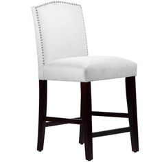Made to Order Nail Button Arched Counter Stool in Velvet White