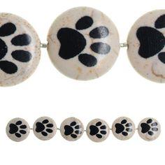 Bead Gallery Reconstituted Quartzite Lentil Beads, Paw Print