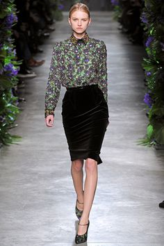 Givenchy Fall 2011 - Silky Buttoned down blouse paired with pencil skirt.