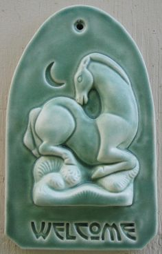 Craftsman style Drowsy Horse Welcome Tile in Hunter Green. $59.00, via Etsy.