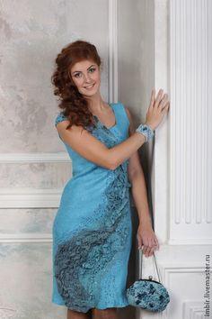 """Платье """"Из пены волн"""" - голубой,платье,Платье нарядное,платье вечернее"""