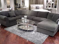 "New Couch Shopping (www.diyplaybook.blogspot.com) Devon Fabric Sectional Sofa, 3 Piece Chaise 140""W x 98""D x 29""H"