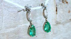 Classic Vintage Platinum Diamond and Emerald Dangle by GoldAdore #etsyjewelry