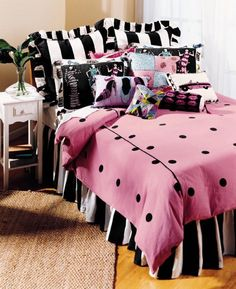 Davenport Home Furnishings Polka Dot Duvet Covers, Pink and Black, Twin Girls Bedding Sets, Teen Bedding, Doll Bedding, Pink Bedding, Comforter Sets, Paris Bedroom, Dream Bedroom, White Bedroom, Bedroom Themes