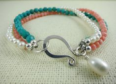 Fresh Water Pearl Coral And Turquoise Bracelet by taliaserinese, $65.00