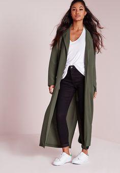 Missguided - Long Sleeve Maxi Duster Jacket Khaki