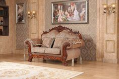 Meridian Furniture Verona Upholstered Solid Wood Loveseat with Traditional Hand Carved Designs, Rolled Arms, and Imported Fabrics, Cherry Finish Living Furniture, Sofa Furniture, Furniture Design, Sofas, Couches, Floral Sofa, Wooden Sofa Set, Meridian Furniture, Antique Sofa