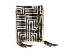 SURAVI - Bolsa de tear em cristal e pérola, com fecho magnético interno, alça corrente e pingente de cristal. #Bolsa #Clutches