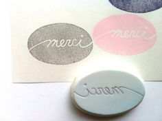 merci hand carved rubber stamp. hand lettered by talktothesun