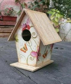 Get free image hosting, easy photo sharing, and photo editing. Upload pictures and videos, create with the online photo editor, or browse a photo gallery or album and create custom print products Decorative Bird Houses, Bird Houses Painted, Bird Houses Diy, Fairy Houses, Painted Birdhouses, House Painting, Painting On Wood, Decoupage, Birdhouse Craft