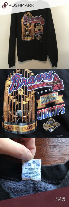 1995 ATL Braves World Series Champions Sweatshirt In great condition, VTG 1995 Braves World Series Champs Men's Sweatshirt size XL ** See last image for full sizing/dimensions  Inside does show signs of wear but no serious damage or visible wear. Salem Sportswear Shirts Sweatshirts & Hoodies
